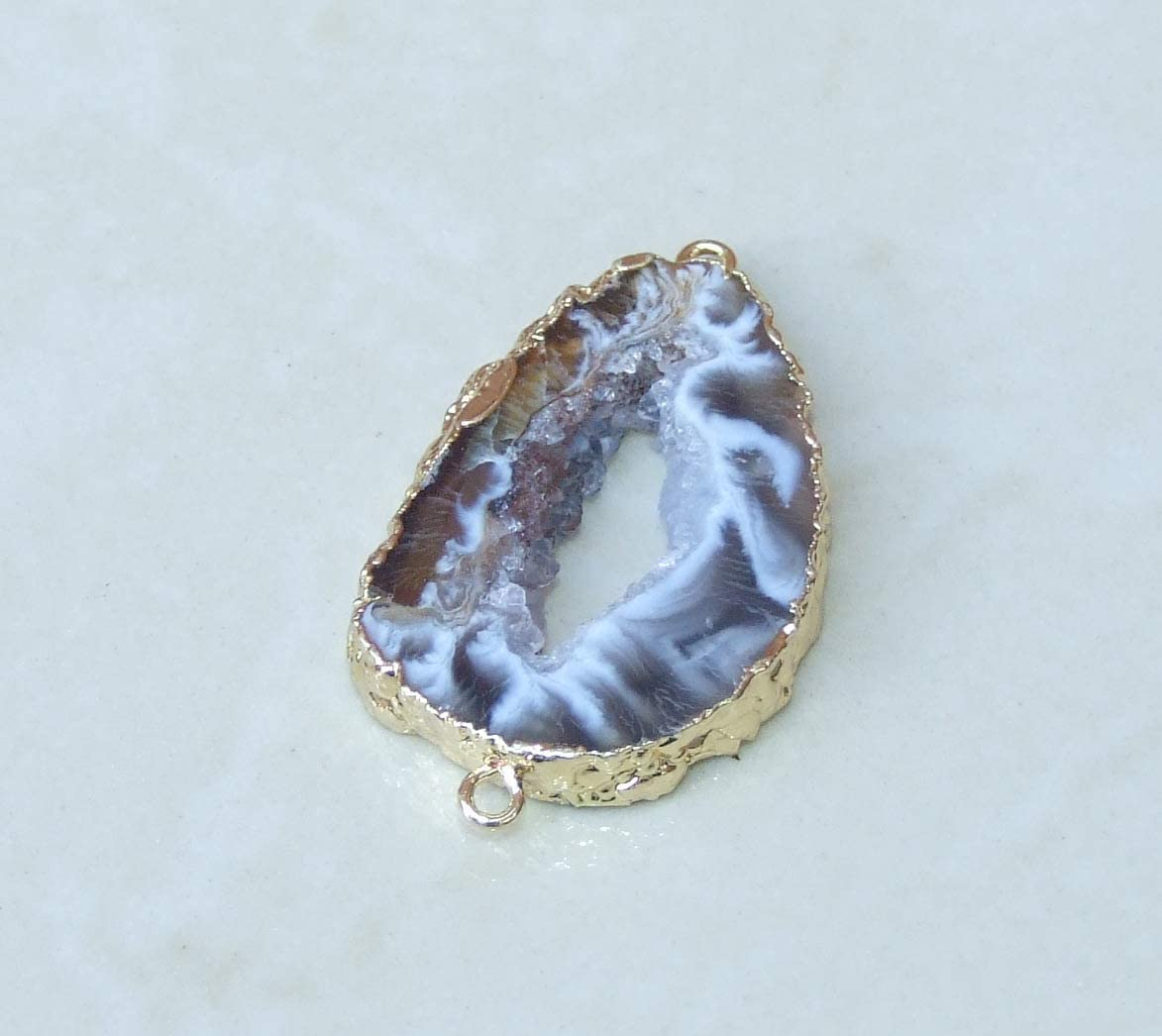 Geode Druzy Connector Single Bail Connectors Pendant Connector 10pc Silver Plated Geode Druzy Natural Geode Druzy Yellow Geode Druzy