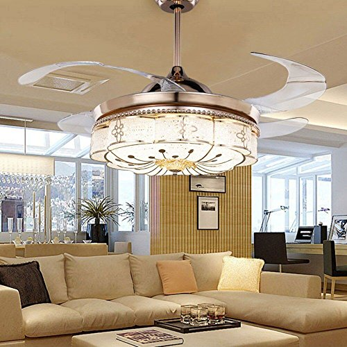 COLORLED Invisible Ceiling Fans Living Room Remote Control Fan Lights Bedroom Simple Modern Retractable Belt LED Mute Electric Fan Chandeliers (42-Inch)