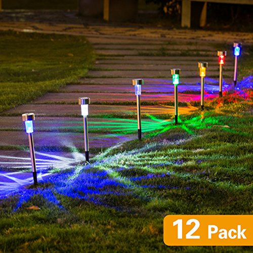 WELLGIUM Solar lights outdoor, Solar Lights Garden Lights Landscape Lighting Pathway Lights for Lawn Patio Stainless Steel-12 pack(6 colors)