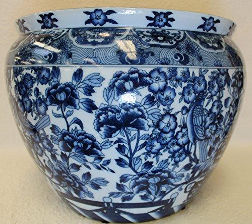 Hidden Birds Blue and White Porcelain Fish Bowl 14'' by BlueWhiteVases