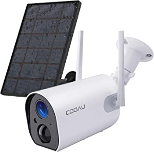 COOAU Outdoor Wireless Home Security Camera, Rechargeable 10400mAh Battery Solar Panel Powered WiFi Surveillance IP65 Waterproof Camera 1080P FHD Night Vision Motion Detection 2-Way Audio