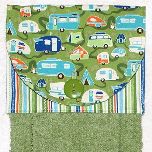Hanging Hand Towel – Kitchen or Bath – Retro Camping Trailers – RV Camping Decor – Green Plush Towel 61DK5i7MRnL