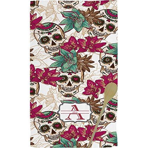 Sugar Skulls & Flowers Kitchen Towel - Full Print (Personalized)