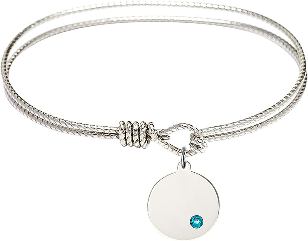 F A Dumont 7 1//4 inch Oval Eye Hook Bangle Bracelet a Loop Cross Charm.
