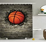 Ambesonne Sports Decor Collection, Basketball Embedded in a Brick Wall Power Training Destruction Image Print, Polyester Fabric Bathroom Shower Curtain, 75 Inches Long, Beige Orange Black