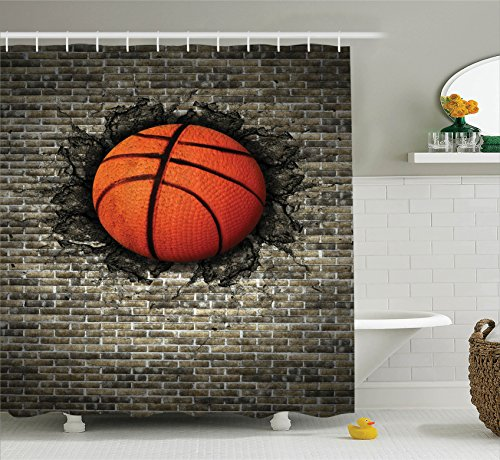 Ambesonne Sports Decor Collection, Basketball Embedded in a Brick Wall Power Training Destruction Image Print, Polyester Fabric Bathroom Shower Curtain Set with Hooks, Beige Orange Black