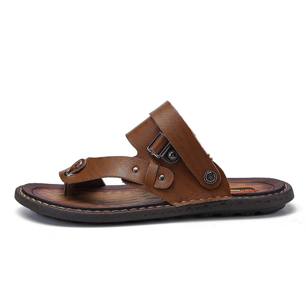 Sandalias de los Hombres Punta Abierta tacón Plano resbalón en los Zapatos de Moda 44 EU|Caqui