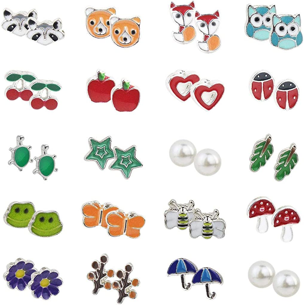 HOVEOX 20 Pairs Stud Earrings Stainless Steel Mixed Color Cute Animals Fruit Mushroom Cherry Pearl Fox Bear Butterfly Bee Owl Flower Star Ladybug Heart Frog Stud Earrings Set for Women Girls