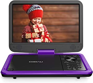 """COOAU 12.5"""" Portable DVD Player with HD Swivel Screen, 5 Hours Built-in Rechargeable Battery, Region Free, Support USB/SD Card, 3.5mm Audio Jack, Remote Control, Resume Playback (Purple)"""