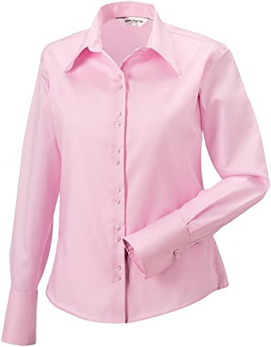Russell Collection J956F-Camisa de manga larga para mujer, no se plancha Rosa rosa: Amazon.es: Ropa y accesorios