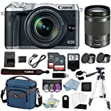 Canon EOS M6 Digital Camera With (Silver) 18-150mm f/3.5-6.3 IS STM Lens + Deluxe Accessory Bundle - M6 Canon Mirrorless Camera Includes EVERYTHING You Need To Get Started