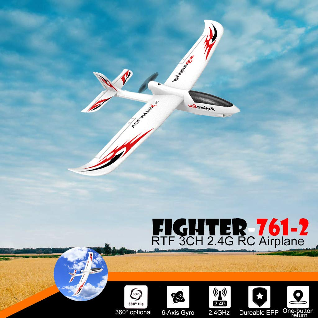 COLOR-LILIJ RC Airplane with 2.4GHz Over 320 ft Control, 6-Axis Gyro, 3-Level Flight Control assists - Help Beginners Learn to Fly Step by Step, Easy to Fly 761-2 RTF Plane for Beginners,US Stock by COLOR-LILIJ (Image #1)