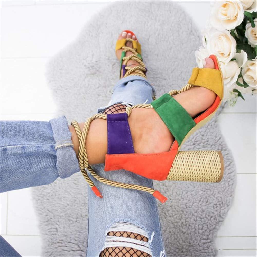 Sandales Femmes Talons /Ét/é Poissons Bouche Soiree Lacets Color/é Chaussures Bride Cheville Lani/ère High Heels Casual Romaines 6.5 CM Talon Bleu Orange Rose Point 35-43 EU