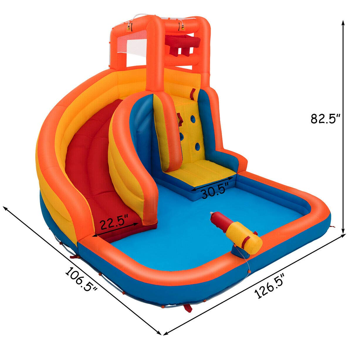 Heize Best Price Orange Inflatable Splash Water Bouncer Slide Bounce House w/ Climbing Wall & Water Hose Splash Pool(U.S. Stock) by Heize Best Price (Image #8)