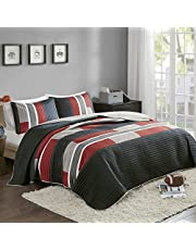 Comfort Spaces Pierre 2 Piece Quilt Coverlet Bedspread All Season Lightweight Hypoallergenic Pipeline Stripe Colorblock Kids Bedding Set, Twin/Twin XL, Black/Red