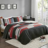 #6: Comfort Spaces Bedspreads Queen Size Mini Quilt Set - Casual Pierre 3 Piece Kids Lightweight Filling Bedding Cover - Black/Red Patchwork Print - All Season Hypoallergenic - Fits Full/Queen