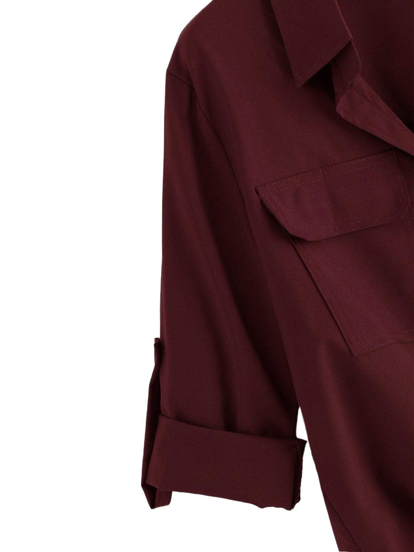 Milumia Womens Collar Lantern Short Sleeve Pleated Detail Button Down Work Blouse Shirt Top