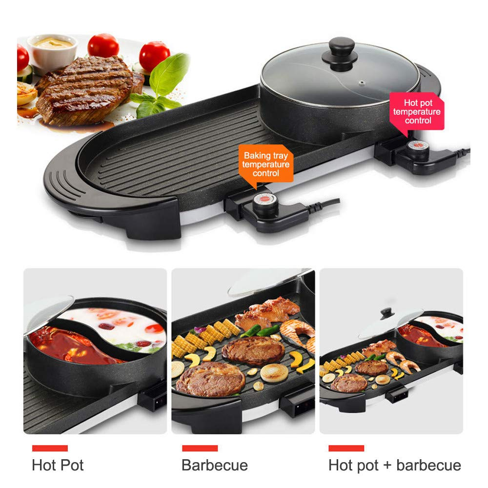 SEAAN Electric Grill Indoor Hot Pot Multifunctional, Indoor Teppanyaki Grill/ Shabu Shabu Pot with Divider - Separate Dual Temperature Contral, Capacity for 5 People, 110V by SEAAN (Image #3)
