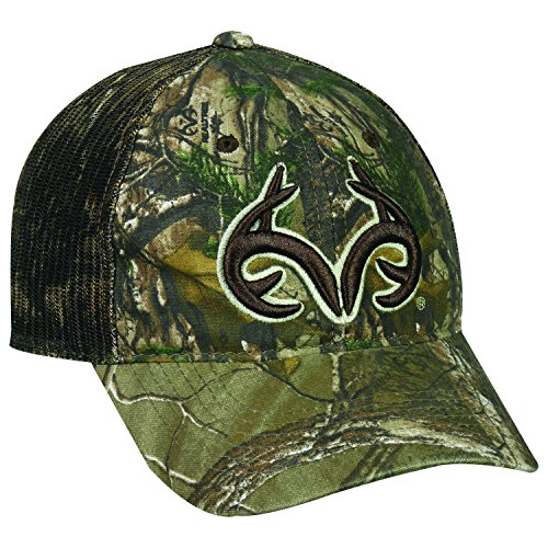 Team Realtree Antlers Xtra Camo Camoflauge Raised Green & Tan Logo Cap Hat 128,Realtree Xtra,One Size Fits Most