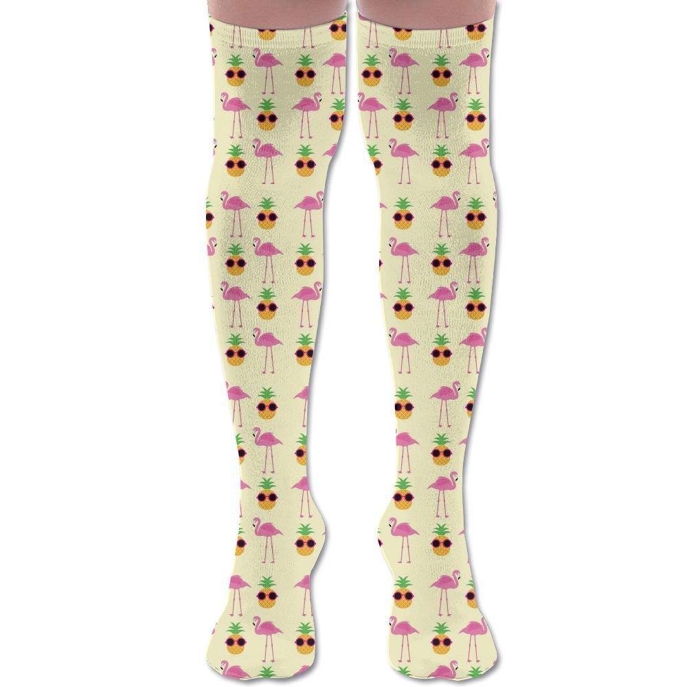 Summer Flamingos And Pineapples With Glasses Women's Over The Knee High Leg Wamers Knee High Socks Thigh-High Stockings