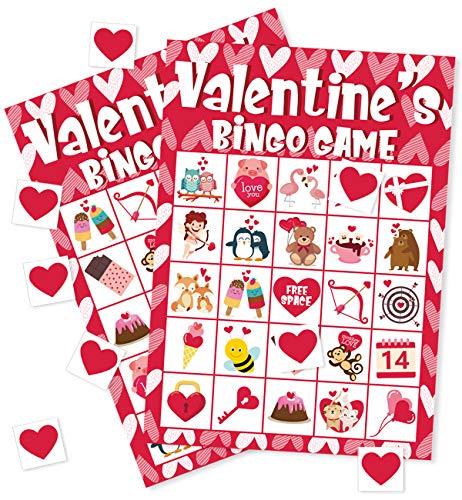 Valentine's Day Bingo Game Cards - Kids Class Party Supplies Activity - 24 -