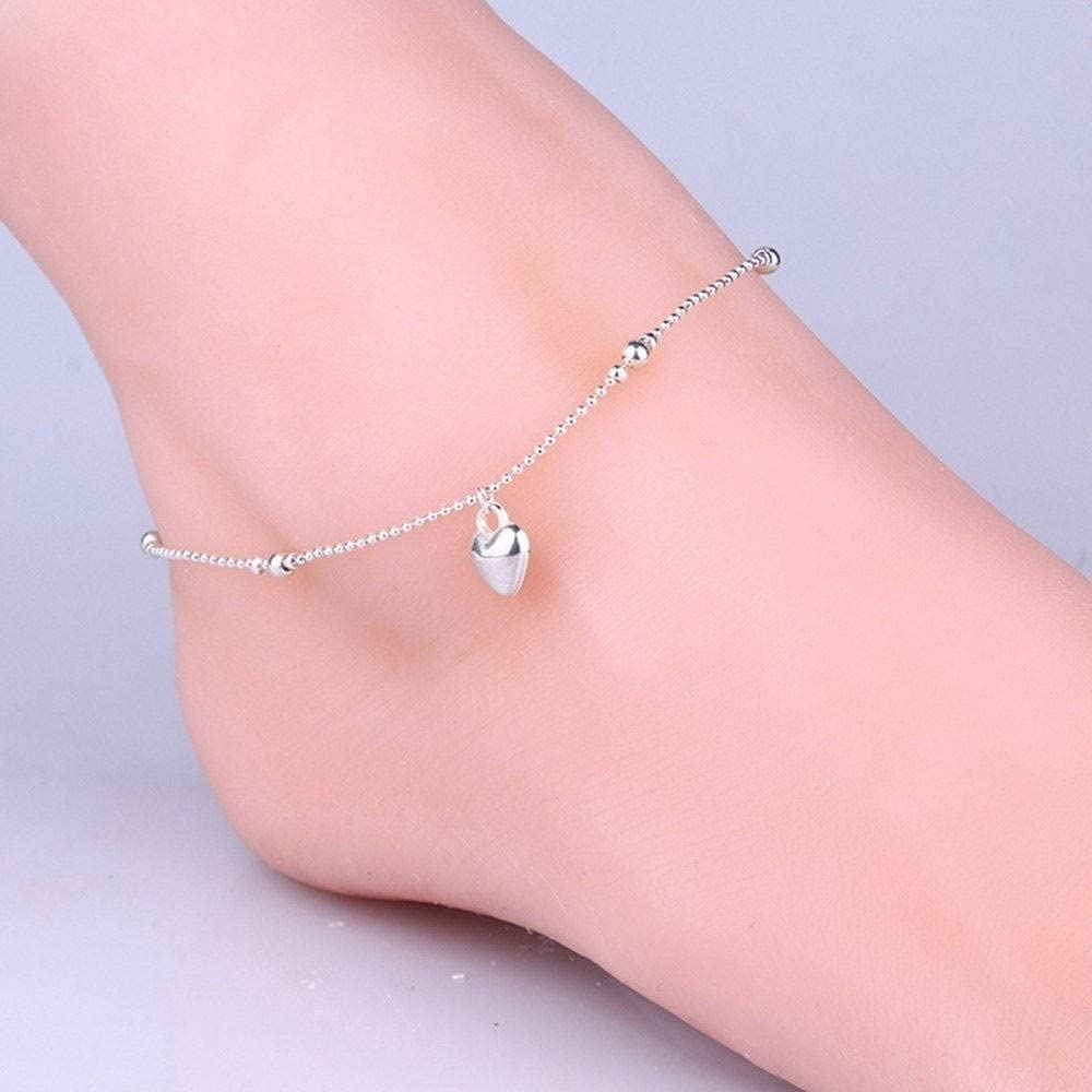 Color Silver ZHCHL Womens Fashion 925 Sterling Silver Anklet Foot Chain Soles Ankle Barefoot Bracelet