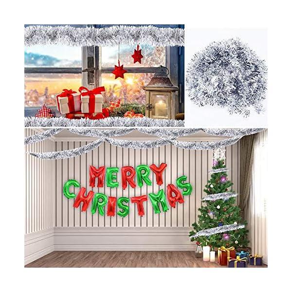 BHGT 6 Pezzi Ghirlanda Natalizia Festone Orpello Argento per Albero di Natale Decorazioni Natalizie Addobbi Ornamenti Natalizi 5 spesavip