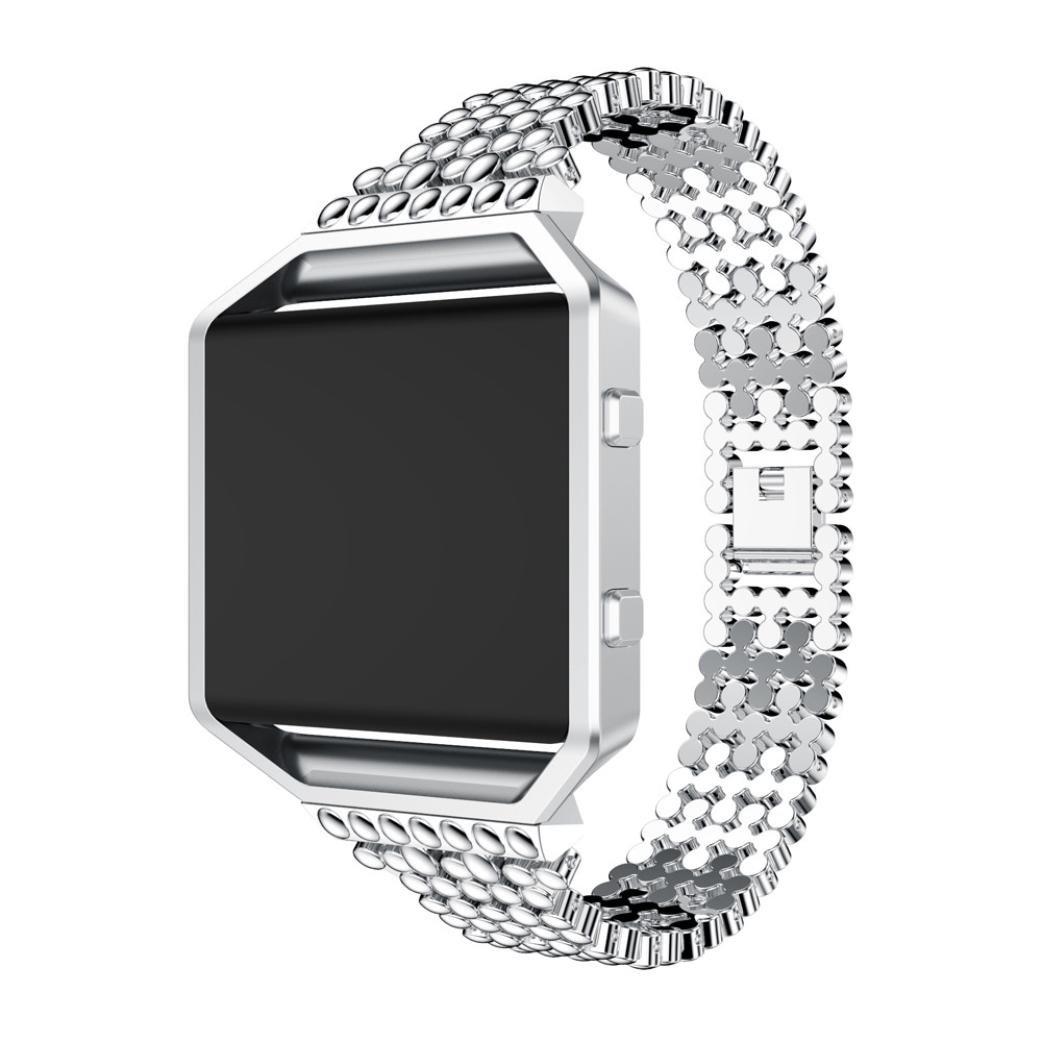 Binmer ( TM ) for Fitbit Blaze、高級合金時計バンド手首ストラップwithメタルフレーム 135-200mm シルバー シルバー シルバー B075XL7T5F