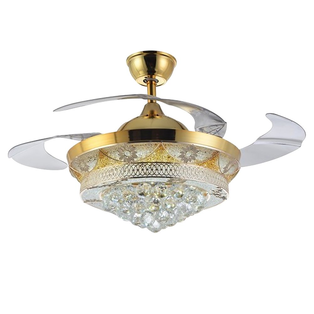 HAIXIANG Fan Lights Crystal Led Modern Fan Chandeliers Simple Invisible Ceiling Fan Home Lighting Bedroom Living Room Bedroom Lamp Restaurant Remote Control 42 inch