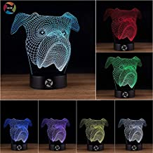 3D Optical Illusion Night Light - 7 LED Color Changing Lamp - Cool Soft Light Safe For Kids - Solution For Nightmares - Bulldog