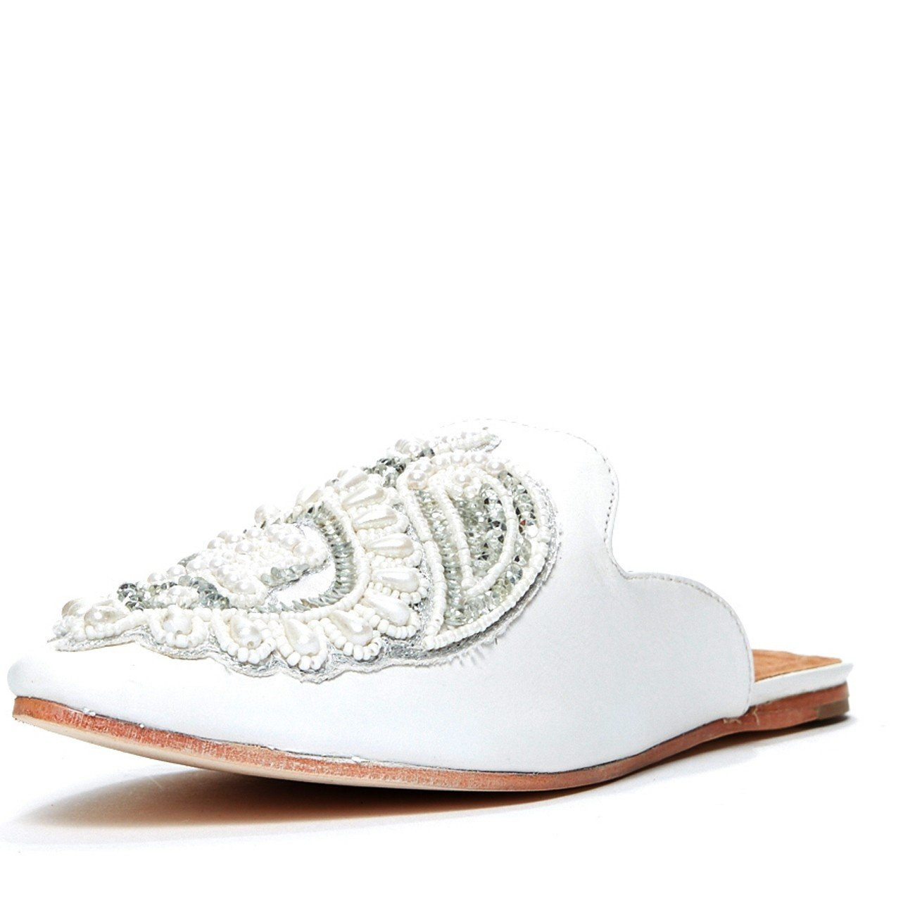 Jeffrey Campbell 'Varada' beaded mule, white. 9.5 by Jeffrey Campbell