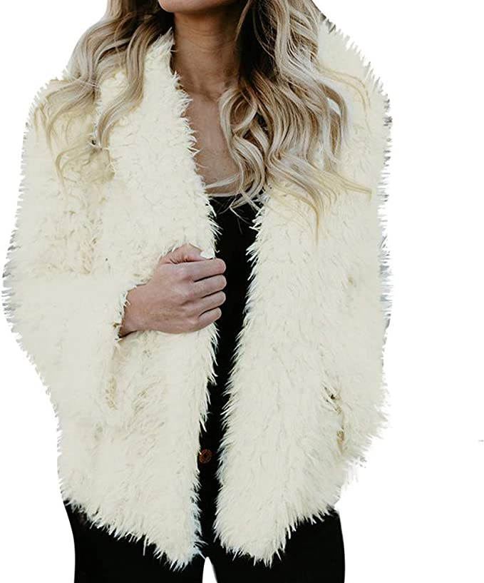 Women Long Coat Jacket Black Loose Comfy Fur Fleece Shaggy Oversize Outwear Tops