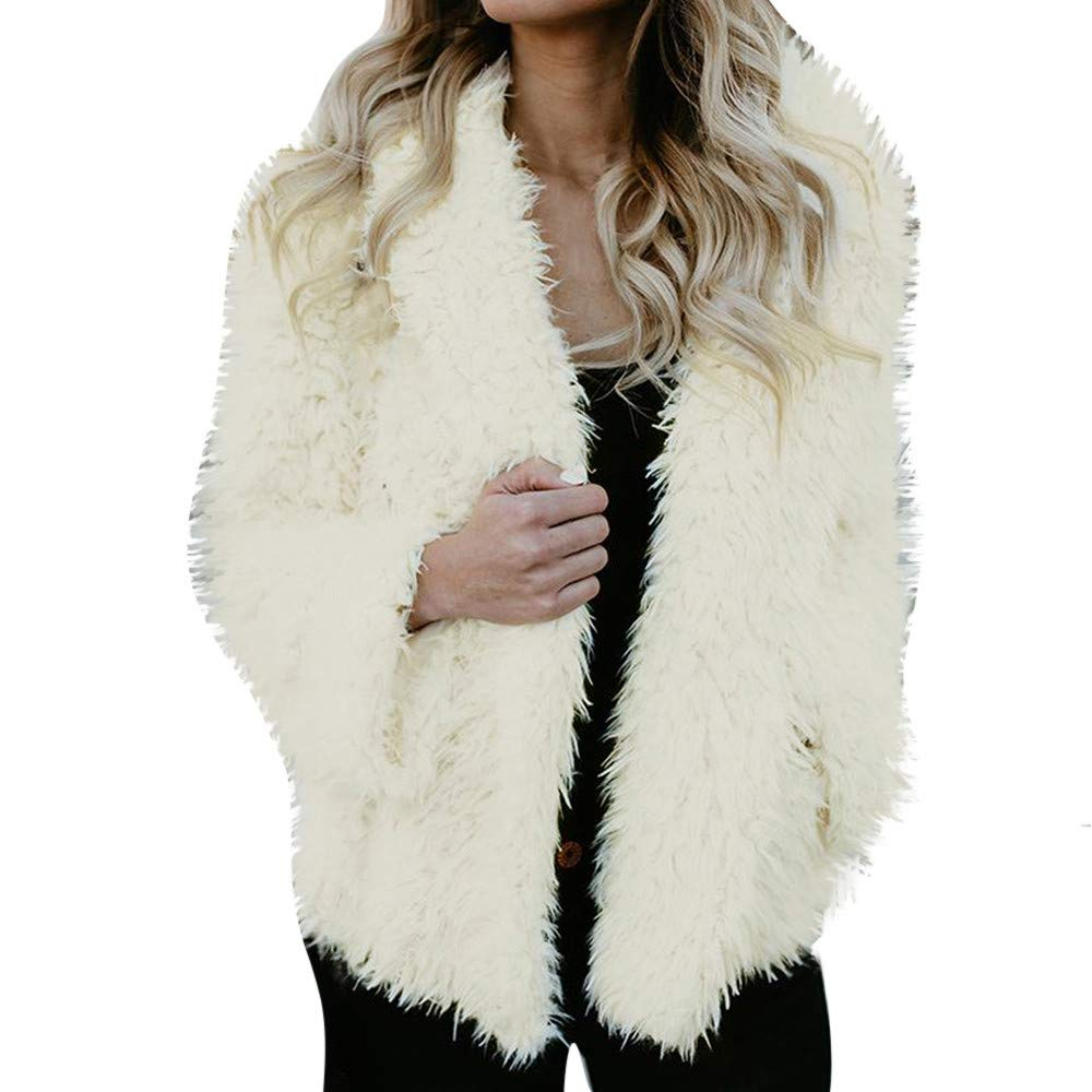 Hunzed women coat Winter warm coat artificial fur faux fur solid color hooded jacket (Black, Small)