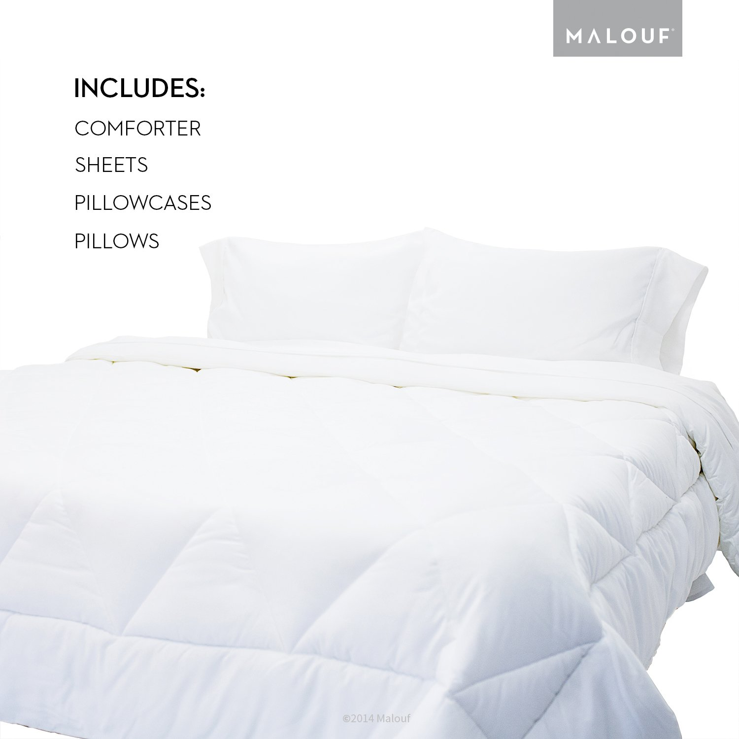 WOVEN Reversible Bed In a Bag Complete Bedding Set - Split Queen - Driftwood/Coffee by MALOUF (Image #6)