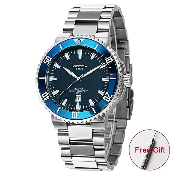 SINOBI Reloj de pulsera de acero inoxidable para hombres, estilo informal, resistente al agua