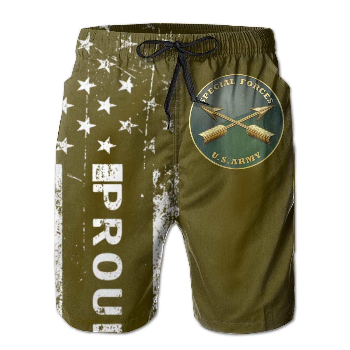 SUNSUNNY US Army Special Forces Mens Boardshorts Swim Trunks Beach Athletic Shorts
