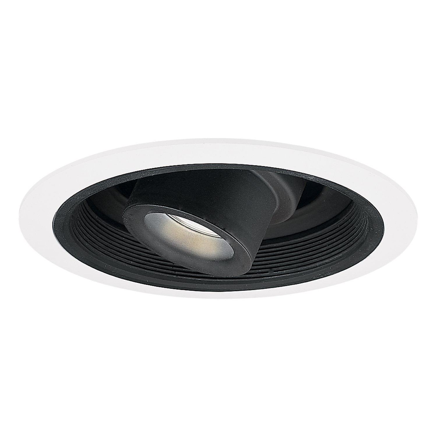 Halo Recessed 1412P 6-Inch Low Voltage Adjustable Spot with Transformer Trim and Black Baffle, White