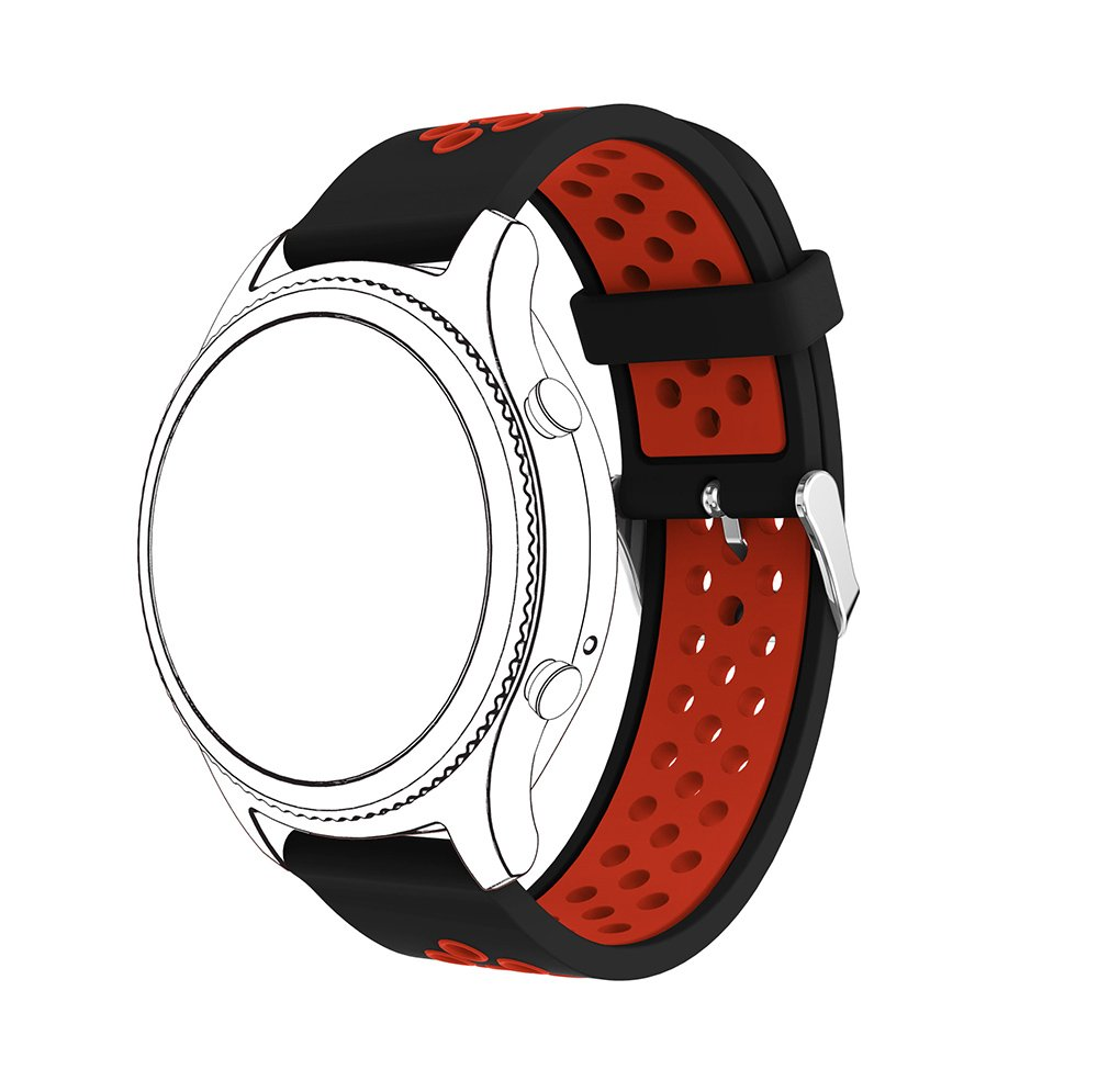 22mm Silicone Replacement Band for Samsung Gear S3 Frontier Sports Watch Band Strap Bracelet for Samsung Gear S3 Classic Frontier Smart Watch (Black Red) by Flyeagle168 (Image #2)