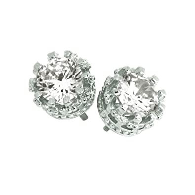 fd02cd020 Elegant 925 Sterling Silver Austrian Crystal Cubic Zirconia Small Round  Stud Earrings Good Quality: Amazon.co.uk: Jewellery