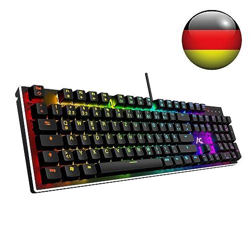 ACGAM RGB Gaming Tastatur 105 Tasten mit Blue Switsches (RGB Beleuchtet, Anti-Ghosting, Voll programmbierbar, Ergonomisches Design und Deutsches Layout QWERTZ) Mechanical Gaming Keyboard