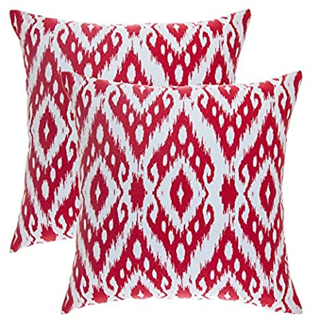 TreeWool, (Pack of 2) Ogee Ikat Diamond Accent Throw Pillow Covers in Cotton Canvas (18 x 18 Inches; Red & White)
