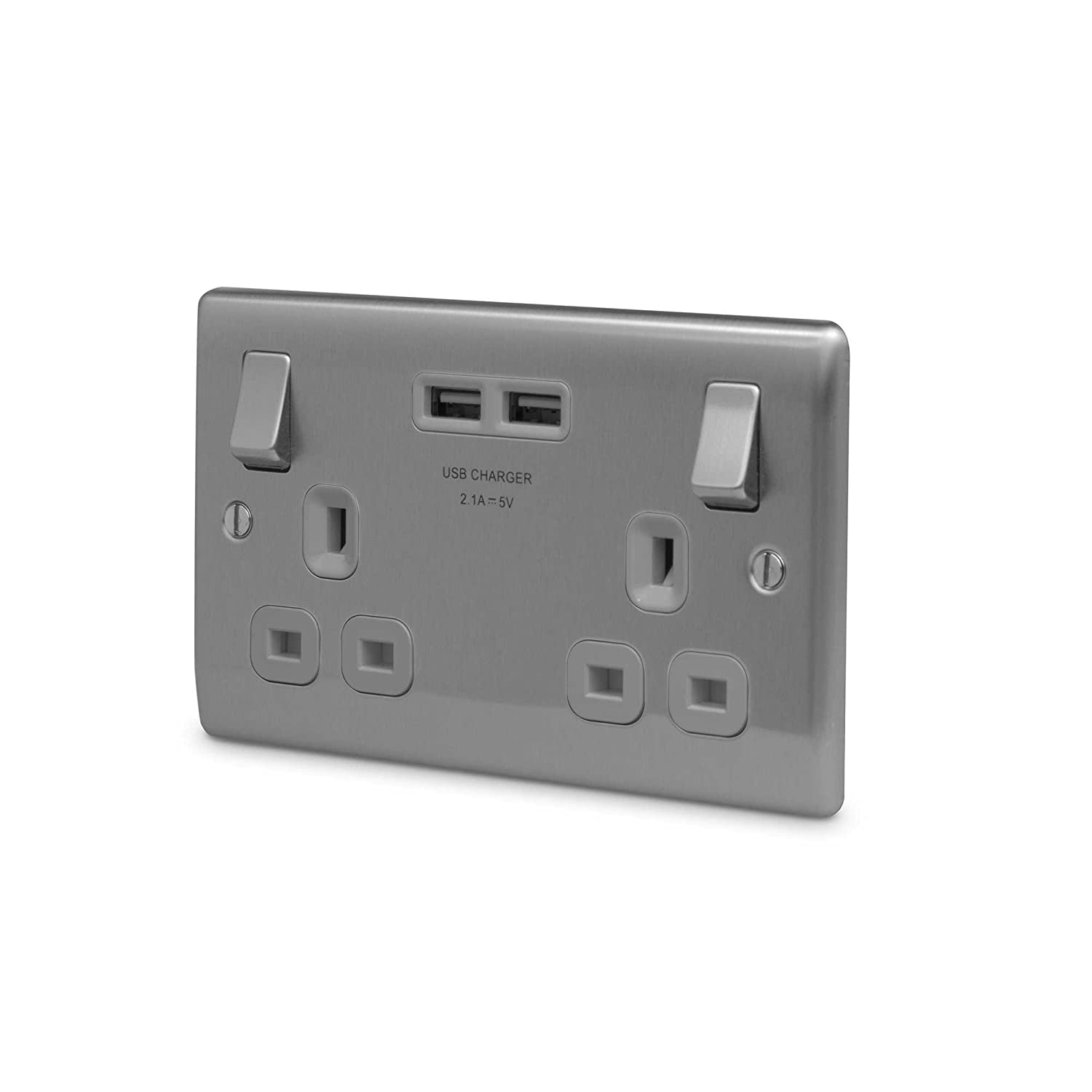 BG Electrical Masterplug Brushed Steel Double Switched Socket with USB Outlets NBS22UG