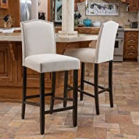 Christopher Knight Home Logan Fabric Backed Barstool (Set of 2) Off-White