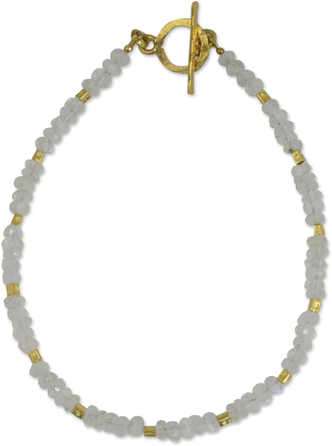"NOVICA Rainbow Moonstone and 24k Yellow Gold Plated Beaded Bracelet, 7.25"" 'Simply Fascinating'"
