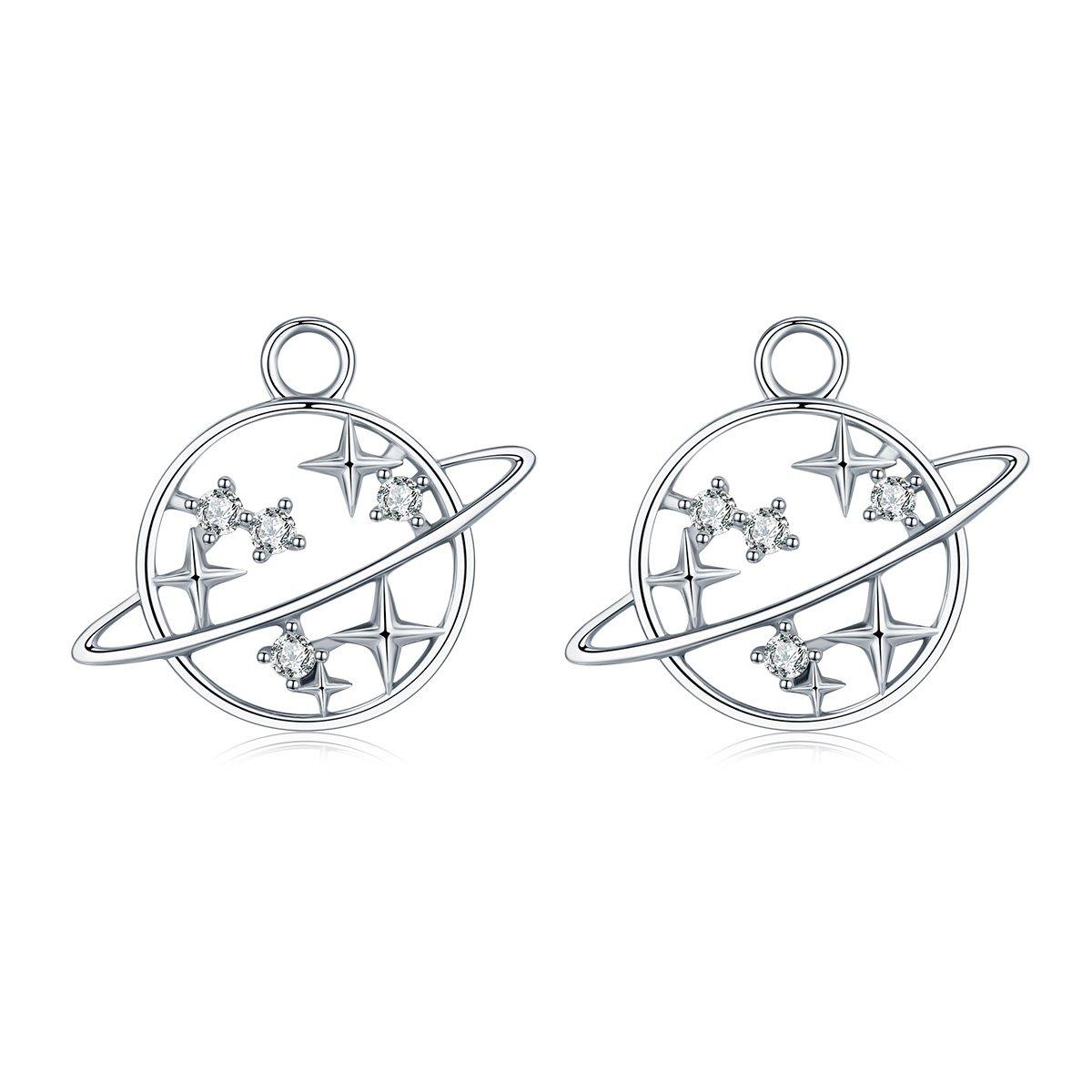 WOSTU Travel World Charms fit Stud Earrings 925 Sterling Silver Earrings Charms Ear Jacket Earrings