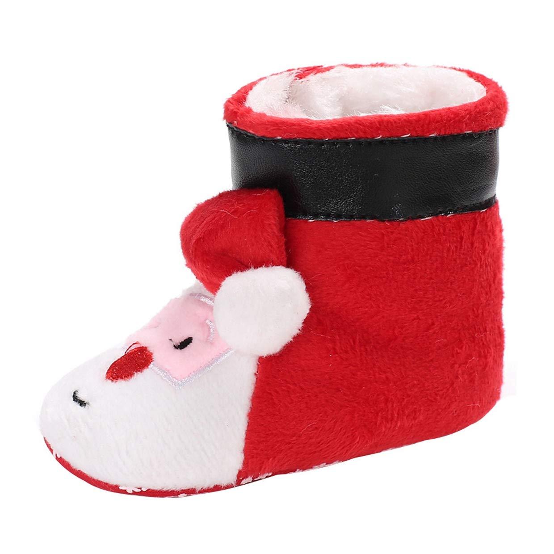Navidad Papá Noel Invierno Primeros Pasos Botas De Recien Nacido EUZeo Otoño Bebé de Zapatos Suave Suela Zapatos Moda Zapatillas de Bebé hasta Zapatos Niña Niño 0-18 Mes