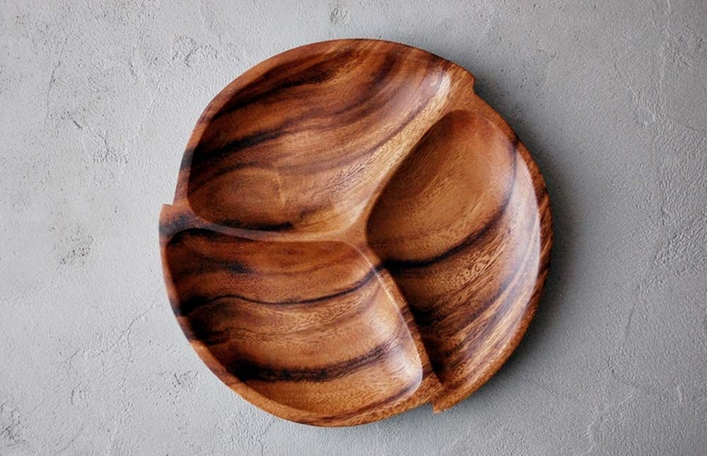 Premium Acacia Wooden 3-Compartment Divided Round Wood Plate Divided Dessert Dish Serving Trays Platters 3 Section