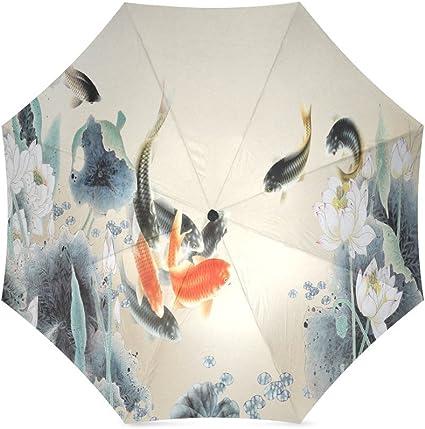 Japanese Koi Fish Folding Rain Umbrella Parasol Windproof Travel Sun Umbrella Compact