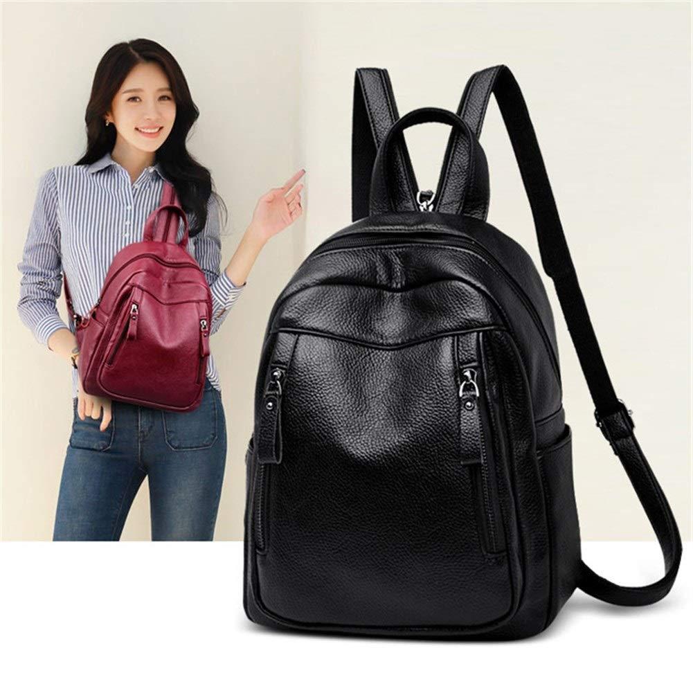 ZYSTMCQZ 3-i-1 kvinna ryggsäck vattentät läder mode dragkedja ryggsäck bröstväska stor kapacitet skolväska resa (färg: Rödvin) Svart