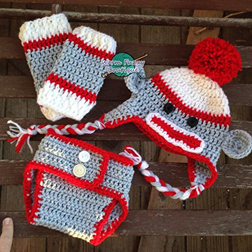 Amazon Sock Monkey Hat Diaper Cover Leg Warmers Outfit Handmade